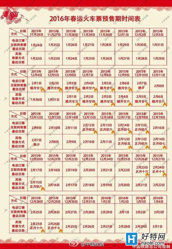 2016春运火车票预售时间表一览