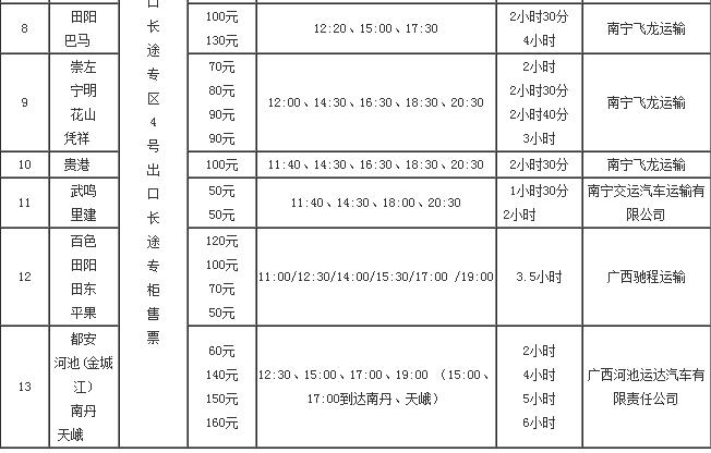 南宁机场大巴时刻表2017
